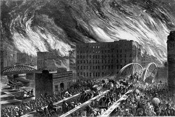 Old drawing of the Great Chicago Fire of 1871
