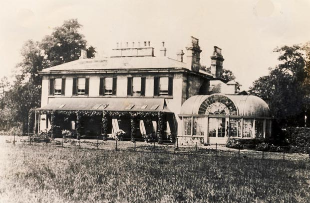 Old photo of Snaith Hall and conservatory, attributed to Joseph Paxton