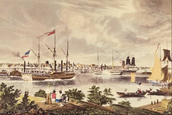 Old painting of Detroit, Michigan in 1837