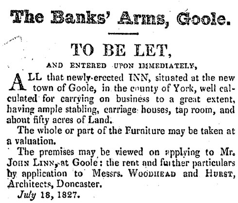 1827 Newspaper advert for the Banks' Arms, Aire Street, Goole