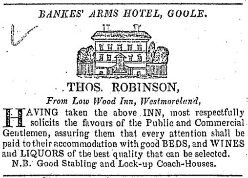 Newspaper advert for the Banks' Arms Hotel, Goole