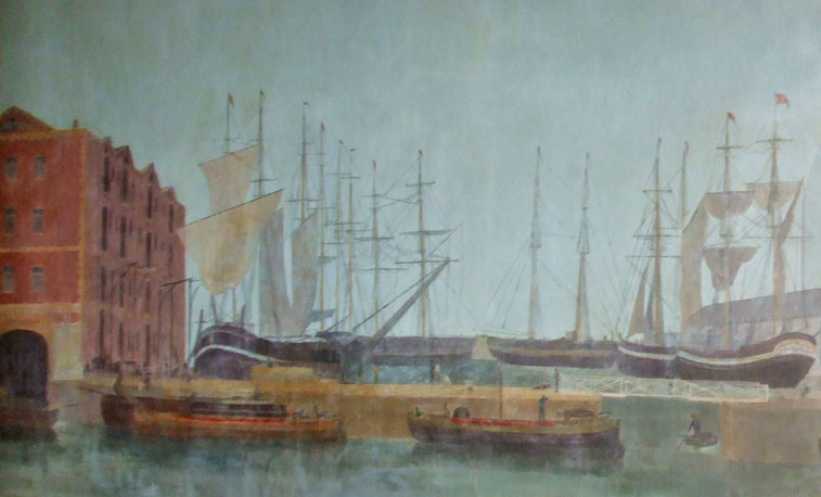 Detail of ships from the murals at the Lowther Hotel, Goole