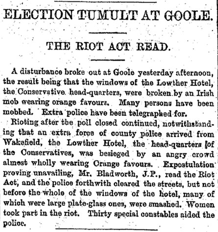Newspaper article detailing the 1880 riots at the Lowther Hotel, Goole, Yorkshire