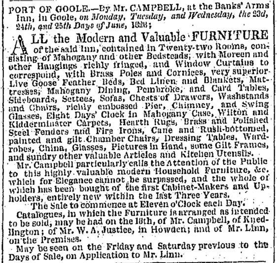 1828 Newspaper Article for sale of the Banks' Arms Inn, Goole