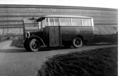 old photo of bus at R100 airship station Howden