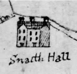 Old drawing of Snaith Hall from 1754; Yarburgh family home