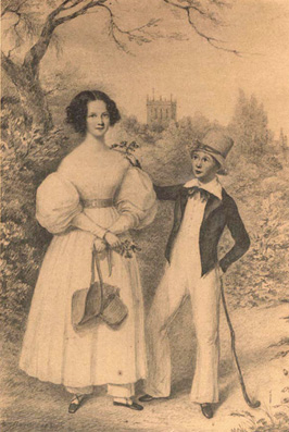 Old drawing of Elizabeth Mitton Shearburn and Thomas Shearburn of Snaith